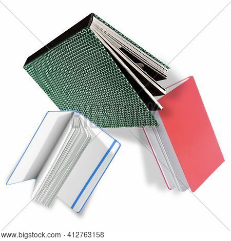 Flying Books In Colour Covers With White Sheets Isolated On A White Background