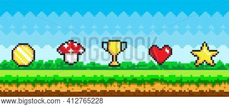 Pixel Art Game Background With Reward Object In Air. Pixel-game Scene With Grass And Awards In Sky