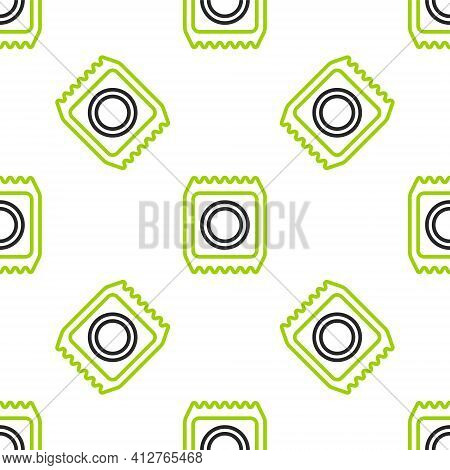 Line Condom In Package Safe Sex Icon Isolated Seamless Pattern On White Background. Safe Love Symbol