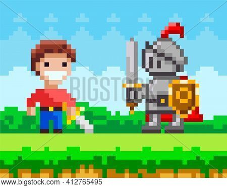 Brave Man With Sword Fighting Against Pixel Knight. Enemy Attacks Human. Meadow And Nature Landscape