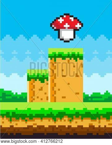 Pixel Art Game Background With Magic Mushroom In Sky. Pixel-game Scene With Green Grass Platform