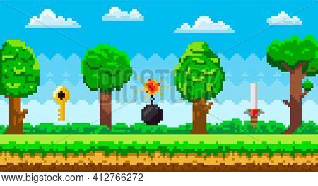Pixel Art Game Background With Reward Object In Air. Pixel-game Scene With Grass, Tall Trees
