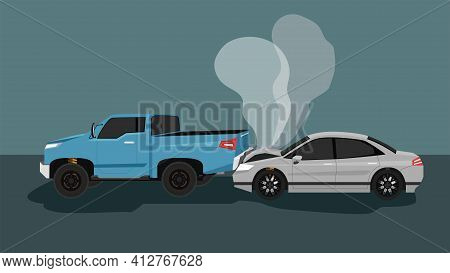 Accident Of A Passenger Car Sedan Crashed Into The Back Of The Pickup Truck. Until The Front Was Dam