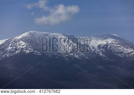 Photograph Of Moncayo, The Highest Mountain In The Iberian System, Covered With Snow At Its Top, On