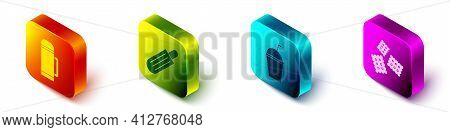 Set Isometric Thermos Container, French Hot Dog, Milkshake And Cracker Biscuit Icon. Vector