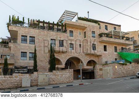Jerusalem, Israel, February 27, 2021 : Evening View Of A Quiet Residential Benjamin Disraeli Street