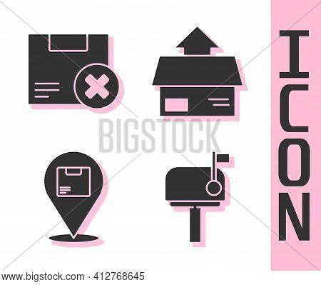 Set Mail Box, Carton Cardboard Box And Delete, Location With Cardboard Box And Carton Cardboard Box