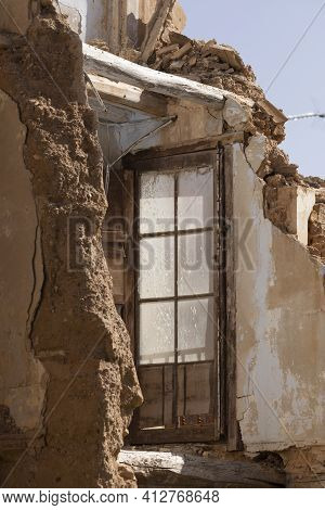 Remains Of A House In Ruins, With Adobe Walls, In The Small Town Of Ambel, In The Campo De Borja Reg