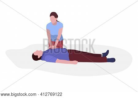 First Aid. The Girl Makes A Man Who Fell In The Street Cardiopulmonary Resuscitation. Isolated Vecto