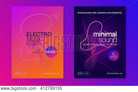 Neon Dj Flyer. Electro Dance Music. Electronic Sound Event. Club