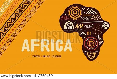 Africa Patterned Map. Banner With Tribal Traditional Grunge Pattern, Elements, Concept Design