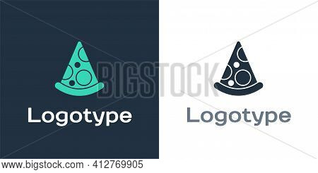 Logotype Slice Of Pizza Icon Isolated On White Background. Fast Food Menu. Logo Design Template Elem