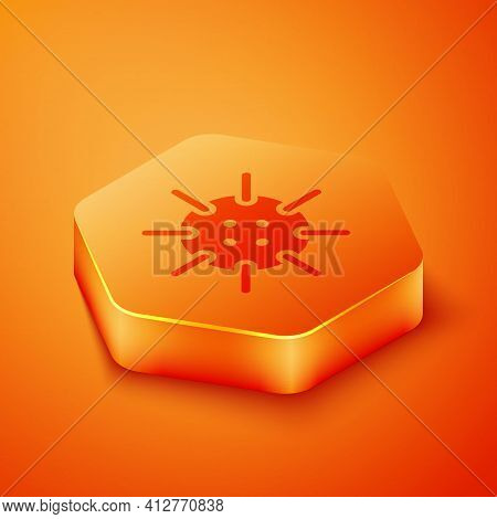 Isometric Naval Mine Icon Isolated On Orange Background. Sea Bomb. Orange Hexagon Button. Vector