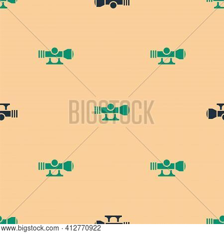 Green And Black Sniper Optical Sight Icon Isolated Seamless Pattern On Beige Background. Sniper Scop