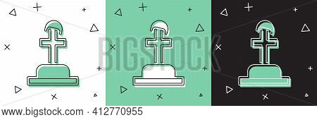 Set Soldier Grave Icon Isolated On White And Green, Black Background. Tomb Of The Unknown Soldier. V