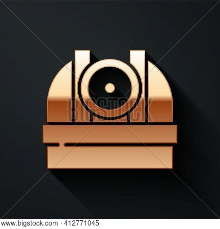 Gold Astronomical Observatory Icon Isolated On Black Background. Observatory With A Telescope. Scien