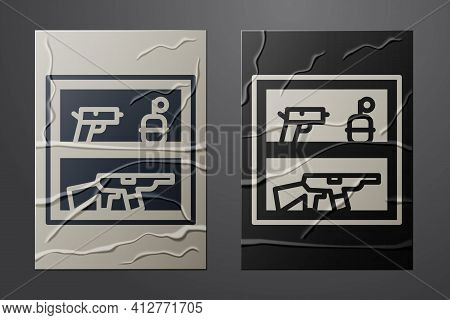 White Hunting Shop With Rifle And Gun Weapon Icon Isolated On Crumpled Paper Background. Supermarket