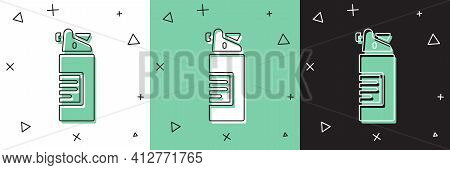 Set Weapons Oil Bottle Icon Isolated On White And Green, Black Background. Weapon Care. Vector
