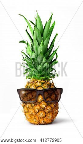 Fresh Tropical Pineapple Fruit Dark Glasses, Holiday Concept, Isolated On White Background