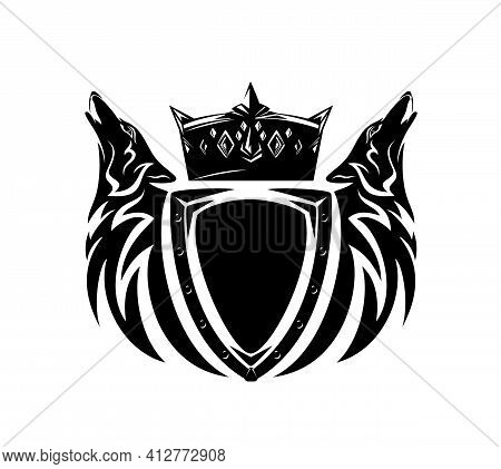 Pair Of Howling Wolf Heads With Heraldic Shield And Royal Crown - Medieval Style Fantasy Coat Of Arm
