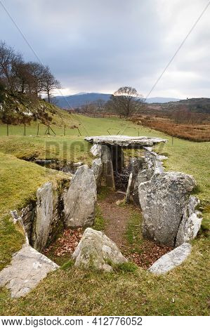 Capel Garmon Burial Chamber, A Neolithic Chambered Long Cairn Near Betws-y-coed, Wales, Uk
