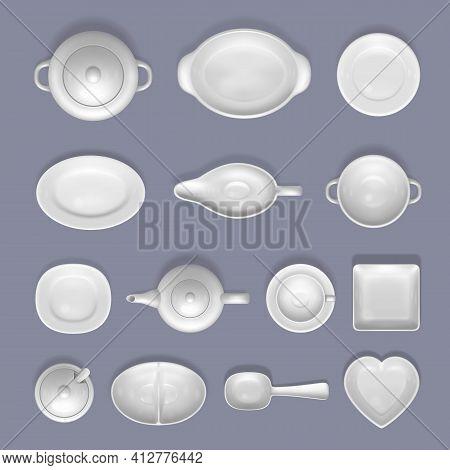 White Empty Ceramic Crockery Mockup Set, Vector Top View Isolated Illustration. Porcelain Tableware,
