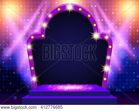 Mosaic Background With Blue And Yellow Spotlights And Arch Banner. Design For Presentation, Concert,