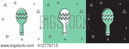 Set Maracas Icon Isolated On White And Green, Black Background. Music Maracas Instrument Mexico. Vec