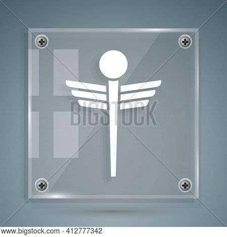 White Caduceus Snake Medical Symbol Icon Isolated On Grey Background. Medicine And Health Care. Embl