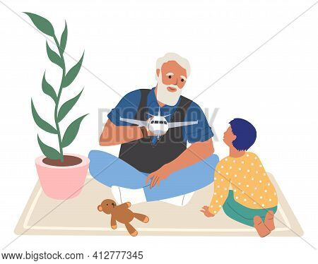 Happy Grandfather And Grandson Playing Toy Game Together, Flat Vector Illustration. Grandparent Gran