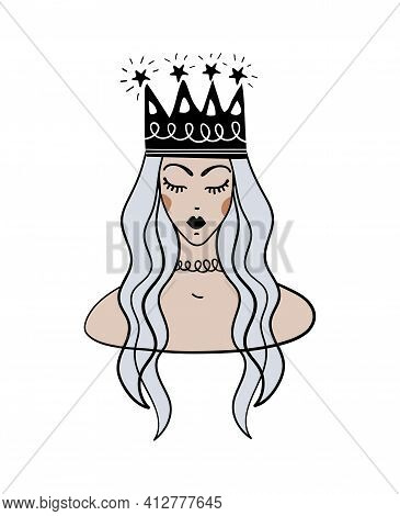 Boho Tattoo With Blue Hair Queen And Crown. Portrait Of A Cute Princess, Hand Drawing. Flat Vector I