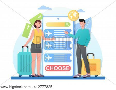 Young Smiling Couple Choosing Tour For Their Trip Together. Male And Female Characters Standing Next