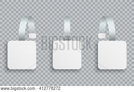 White Realistic Blank Advertising Wobblers Isolated On Transparent Background. Square Wobbler Paper