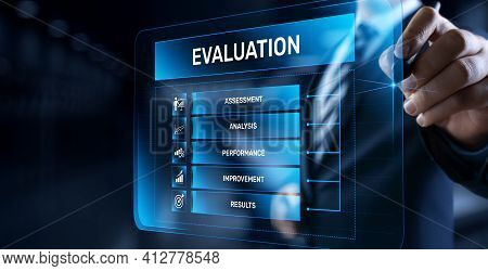 Evaluation Assessment Customer Service Feedback. Businessman Pressing Button On Screen.