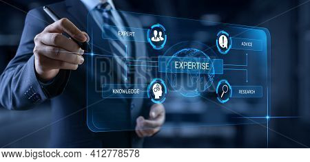 Expertise Business Consulting Concept. Businessman Pressing Button On Screen.