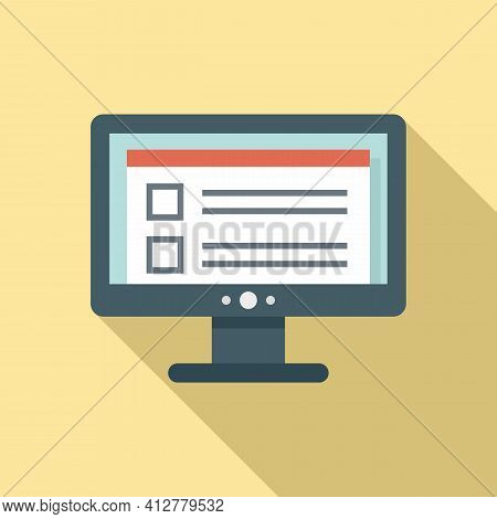 Online Purchase Check Icon. Flat Illustration Of Online Purchase Check Vector Icon For Web Design