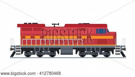 Freight Train Isolated On White Background. Railway Locomotive Icon. Cargo Train On Railroad. Vector