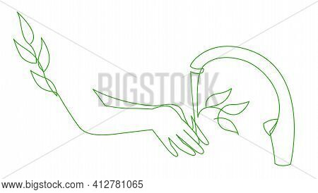Save Water Concept Recycled Water, World Water Day Save Nature. Continuous One Line Drawing Of Eco W