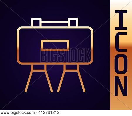 Gold Line Military Mine Icon Isolated On Black Background. Claymore Mine Explosive Device. Anti Pers