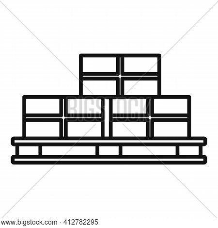 Parcel Pallet Icon. Outline Parcel Pallet Vector Icon For Web Design Isolated On White Background