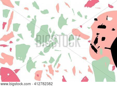 Terrazzo Modern Abstract Template. Pink And Green