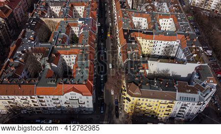 Apartment Blocks In Berlin - View From Above - Berlin, Germany - March 11, 2021