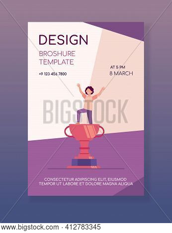 Kid Celebrating Triumph. Child Winning Competition, Getting Golden Cup. Flat Vector Illustration. Aw