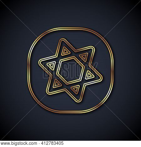 Gold Line Tarot Cards Icon Isolated On Black Background. Magic Occult Set Of Tarot Cards. Vector