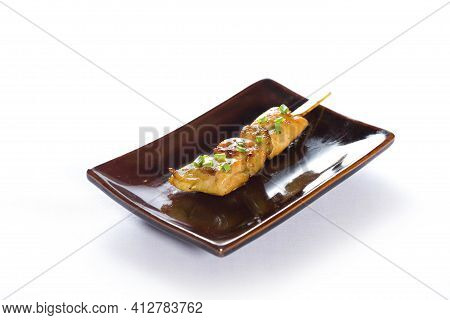 Yakitori Or Chicken Liver Grilled Skewers On White Background, Japanese Food.