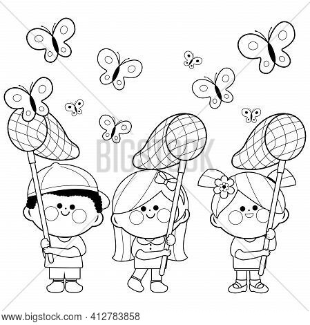 Children With Butterfly Nets Catching Butterflies. Vector Black And White Coloring Page