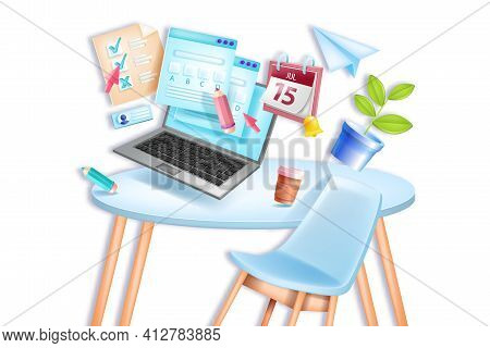 Online Exam, Vector Education School, University Remote Home Test, Chair, Table, Laptop Screen, Cale