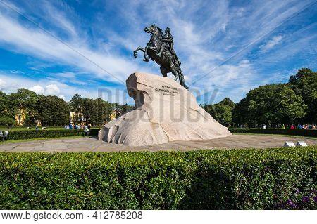 The Bronze Horseman Is An Equestrian Statue In The Senate Square In Saint Petersburg, Russia