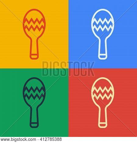 Pop Art Line Maracas Icon Isolated On Color Background. Music Maracas Instrument Mexico. Vector