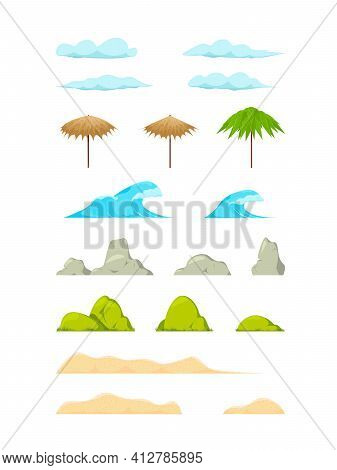 Ocean Horizon, Clouds And Green Trees Cartoon Vector Illustration Set. Isolated Cartoon Landscape Be